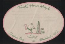 Rare old hotel label from Trinidad  flamingo #194